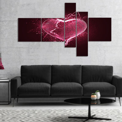 Designart Happy Valentine??S Day Multipanel Abstract Canvas Art Print - 5 Panels