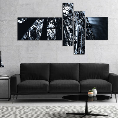 Designart 3D Abstract Art Black Atomic MultipanelAbstract Canvas Art Print - 5 Panels