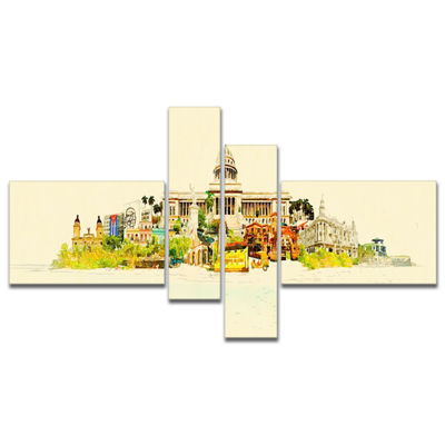 Designart Havana Panoramic View Multipanel Cityscape Watercolor Canvas Print - 4 Panels