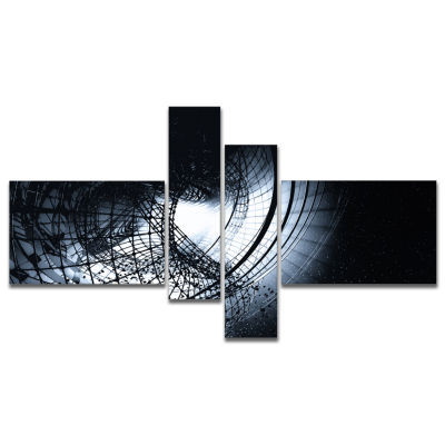 Design Art 3D Abstract Art Black Spiral MultipanelAbstract Canvas Art Print - 4 Panels