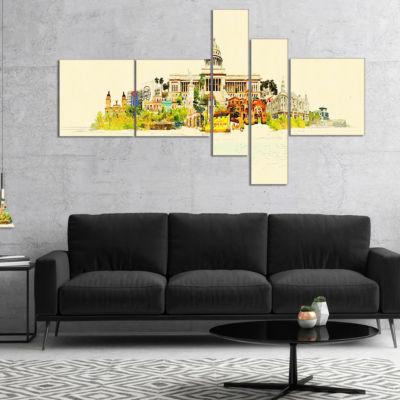 Designart Havana Panoramic View Multipanel Cityscape Watercolor Canvas Print - 5 Panels