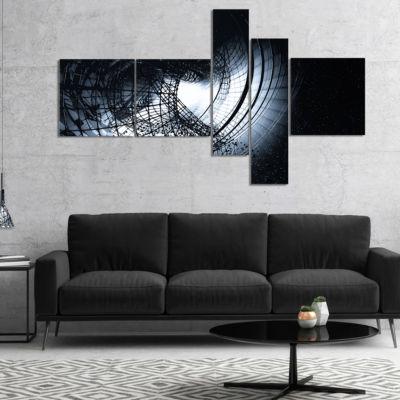 Designart 3D Abstract Art Black Spiral MultipanelAbstract Canvas Art Print - 5 Panels