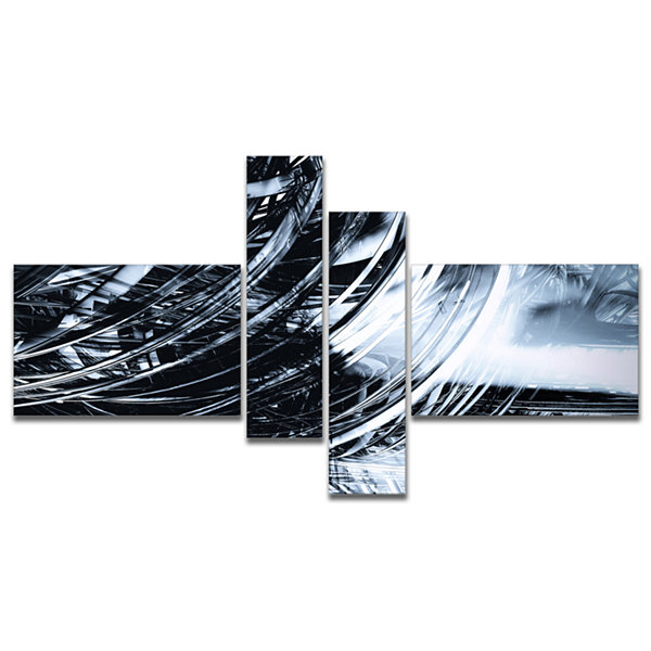Designart 3D Abstract Art Black Spiral MultipanelBlack Multipanel Abstract Canvas Art Print - 4 Panels