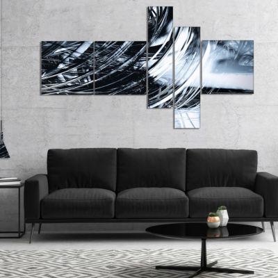 Designart 3D Abstract Art Black Spiral MultipanelBlack Multipanel Abstract Canvas Art Print - 5 Panels