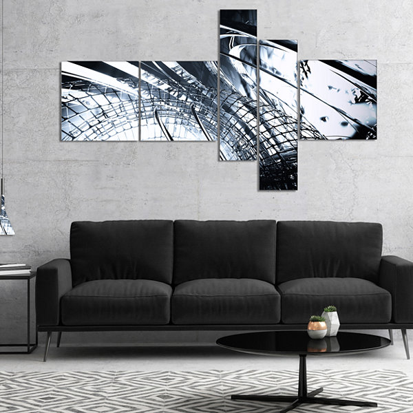 Designart 3D Abstract Art Black Structural Multipanel Abstract Canvas Art Print - 5 Panels