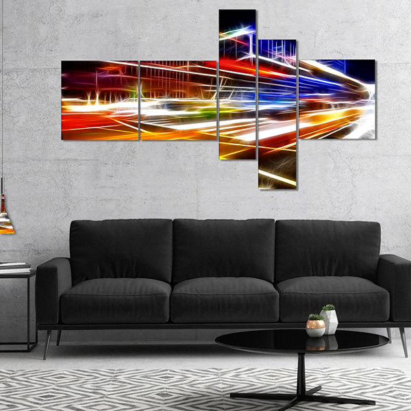Designart High Speed Traffic Trails Multipanel Cityscape Digital Art Canvas Print - 5 Panels