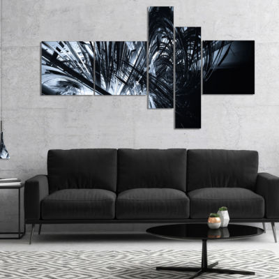 Designart 3D Abstract Art Black White MultipanelAbstract Canvas Art Print - 5 Panels