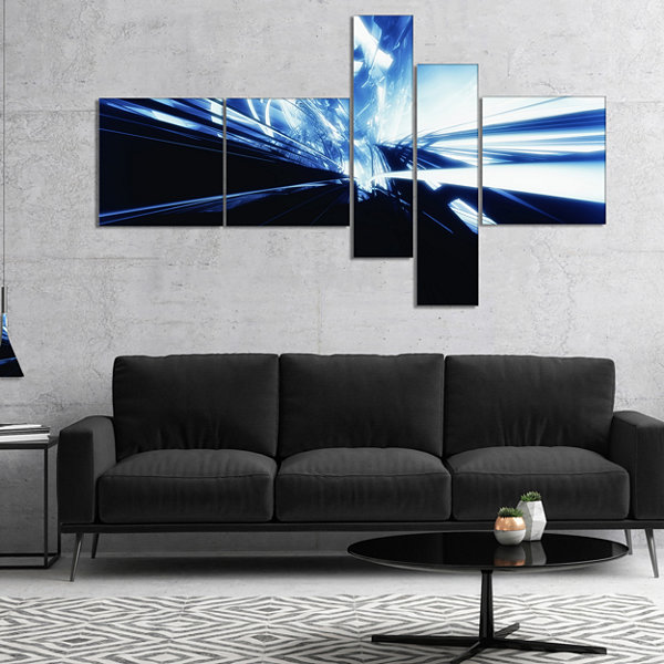 Designart 3D Abstract Art Blue Black Multipanel Abstract Canvas Art Print - 4 Panels
