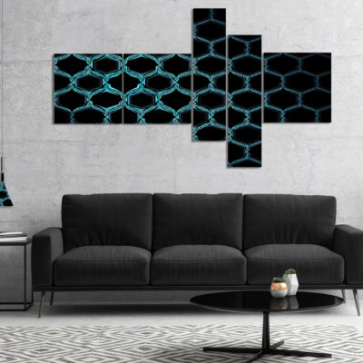 Designart Honeycomb Fractal Gold Hex Pixel Multipanel Abstract Art On Canvas - 5 Panels
