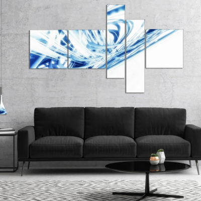 Designart 3D Abstract Art Blue Fractal MultipanelAbstract Canvas Art Print - 4 Panels