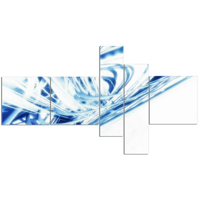 Designart 3D Abstract Art Blue Fractal MultipanelAbstract Canvas Art Print - 5 Panels