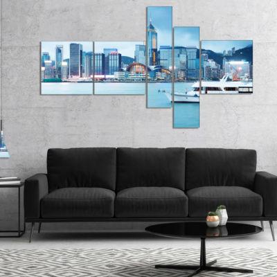 Designart Hong Kong City At Night Multipanel Cityscape Canvas Art Print - 5 Panels