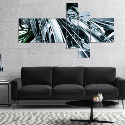 Designart 3D Abstract Art Green Black MultipanelAbstract Canvas Art Print - 5 Panels