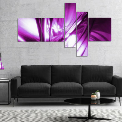 Designart 3D Abstract Art Purple Fractal Multipanel Abstract Canvas Art Print - 4 Panels