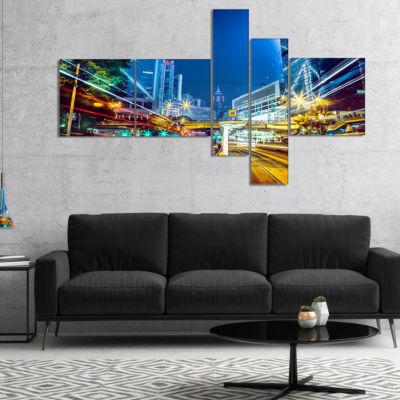 Designart Hong Kong City Night Scene Multipanel Cityscape Art Print On Canvas - 5 Panels