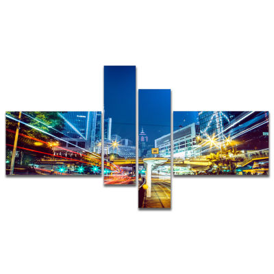 Designart Hong Kong City Night Scene Multipanel Large Cityscape Art Print On Canvas - 4 Panels