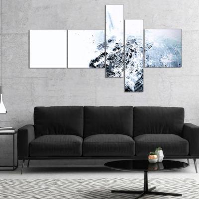 Designart 3D Abstract Art White Crystal MultipanelAbstract Canvas Art Print - 5 Panels