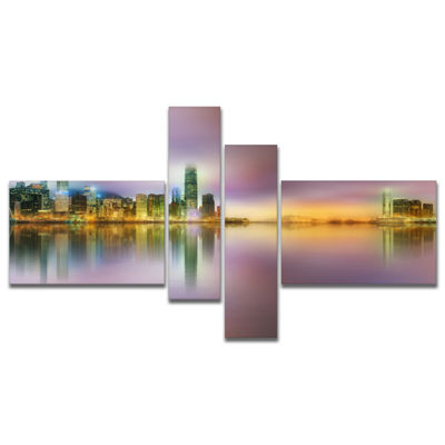 Designart Hong Kong Panorama At Twilight Multipanel Cityscape Photo Canvas Print - 4 Panels