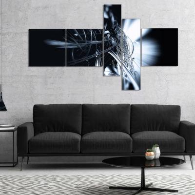 Designart 3D Abstract Art White Floral MultipanelAbstract Canvas Art Print - 4 Panels