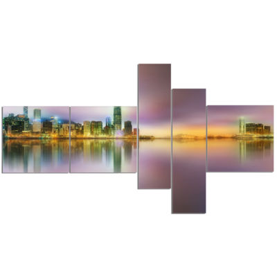 Designart Hong Kong Panorama At Twilight Multipanel Cityscape Photo Canvas Print - 5 Panels