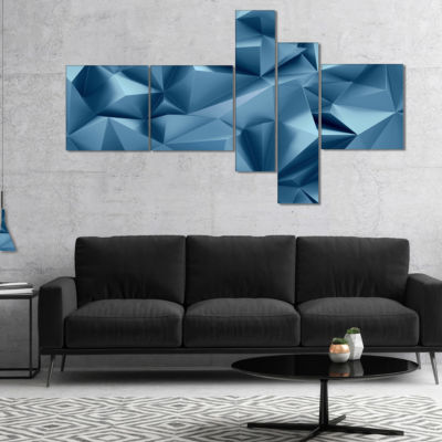 Designart 3D Abstract Geometric Background Multipanel Abstract Canvas Wall Art - 4 Panels
