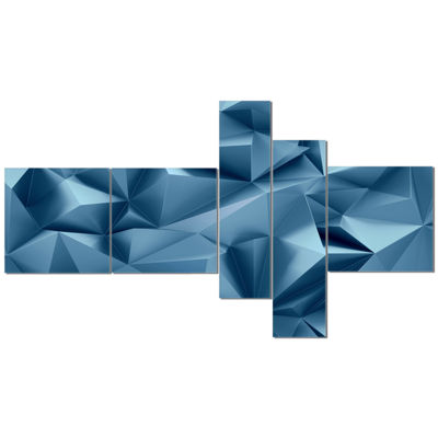Designart 3D Abstract Geometric Background Multipanel Abstract Canvas Wall Art - 5 Panels