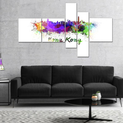 Designart Hong Kong Skyline Multipanel CityscapeCanvas Artwork Print - 4 Panels