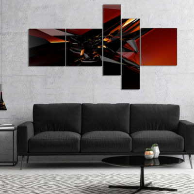 Designart 3D Abstract Red Glass Design MultipanelAbstract Canvas Art Print - 5 Panels