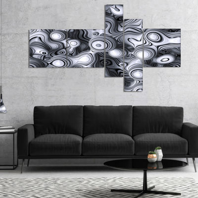 Designart 3D Abstract Wavy Bubbles Multipanel Abstract Canvas Art Print - 4 Panels
