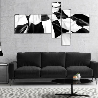 Designart 3D Checkered Flag Multipanel Abstract Canvas Art Print - 4 Panels