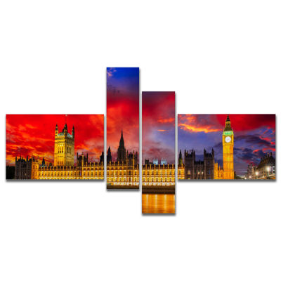 Design Art House Of Parliament At River Thames Multipanel Modern Cityscape Canvas Art Print - 4 Panels