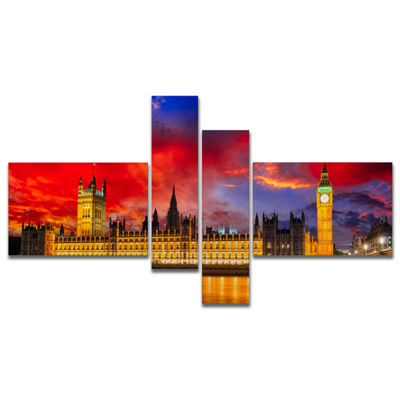 Designart House Of Parliament At River Thames Multipanel Modern Cityscape Canvas Art Print - 4 Panels