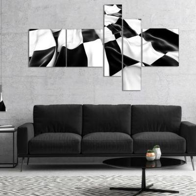 Designart 3D Checkered Flag Multipanel Abstract Canvas Art Print - 5 Panels