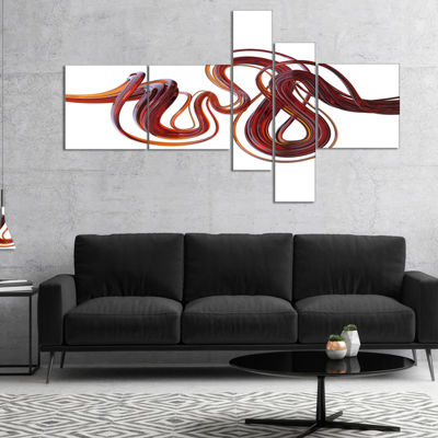 Designart 3D Flexible Caramel Lines Multipanel Abstract Canvas Art Print - 4 Panels