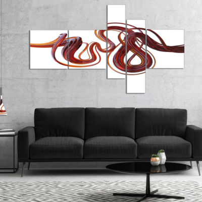 Designart 3D Flexible Caramel Lines Multipanel Abstract Canvas Art Print - 5 Panels