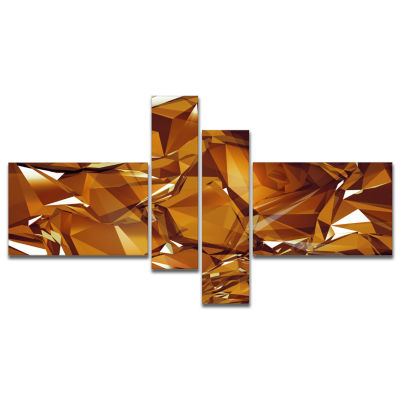 Designart 3D Gold Crystal Background Multipanel Abstract Canvas Wall Art - 4 Panels