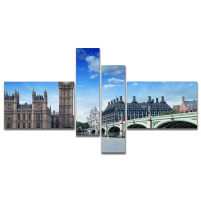 Designart Houses Of Parliament And Westminster Bridge Multipanel Modern Cityscape Canvas Art Print-4Panels
