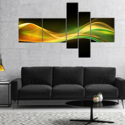 Designart 3D Gold Green Wave Design Multipanel Abstract Canvas Art Print - 5 Panels