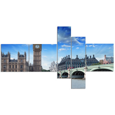 Designart Houses Of Parliament And Westminster Bridge Multipanel Modern Cityscape Canvas Art Print-5Panels