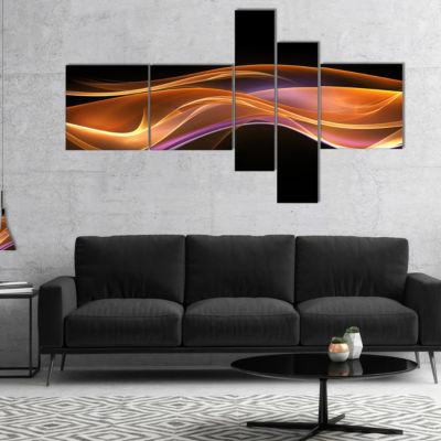Designart 3D Gold Pink Wave Design Multipanel Abstract Canvas Art Print - 4 Panels