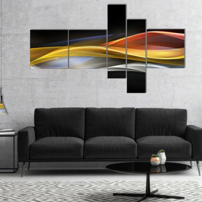 Designart 3D Gold Silver Wave Design Multipanel Abstract Canvas Art Print - 5 Panels