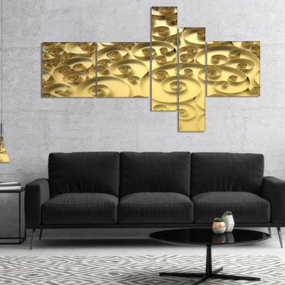 Designart 3D Golden Curly Background Multipanel Abstract Canvas Art Print - 4 Panels