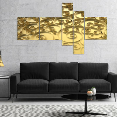 Designart 3D Golden Curly Background Multipanel Abstract Canvas Art Print - 5 Panels