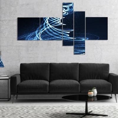 Designart 3D Illuminated Helix Shapes MultipanelAbstract Canvas Art Print - 5 Panels