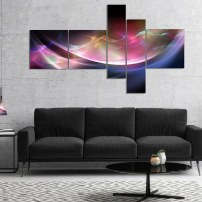 Designart 3D Pink Blue Glowing Light Multipanel Abstract Canvas Art Print - 4 Panels