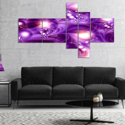 Design Art 3D Purple Texture Pattern Multipanel Abstract Canvas Art Print - 5 Panels