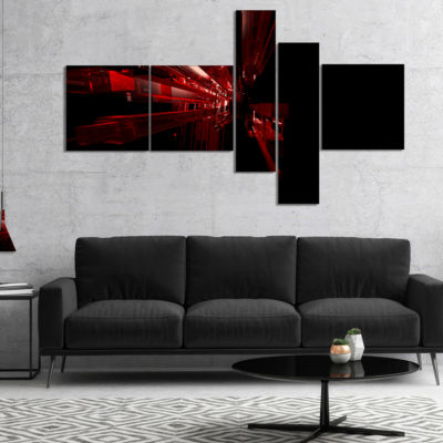 Designart 3D Red Crystal Background Multipanel Abstract Canvas Art Print - 4 Panels