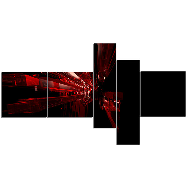 Designart 3D Red Crystal Background Multipanel Abstract Canvas Art Print - 5 Panels