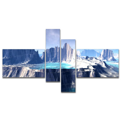 Design Art 3D Rendered Fantasy Alien Planet Multipanel Large Landscape Canvas Art - 4 Panels