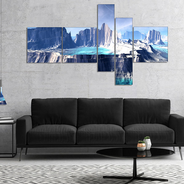 Designart 3D Rendered Fantasy Alien Planet Multipanel Large Landscape Canvas Art - 5 Panels
